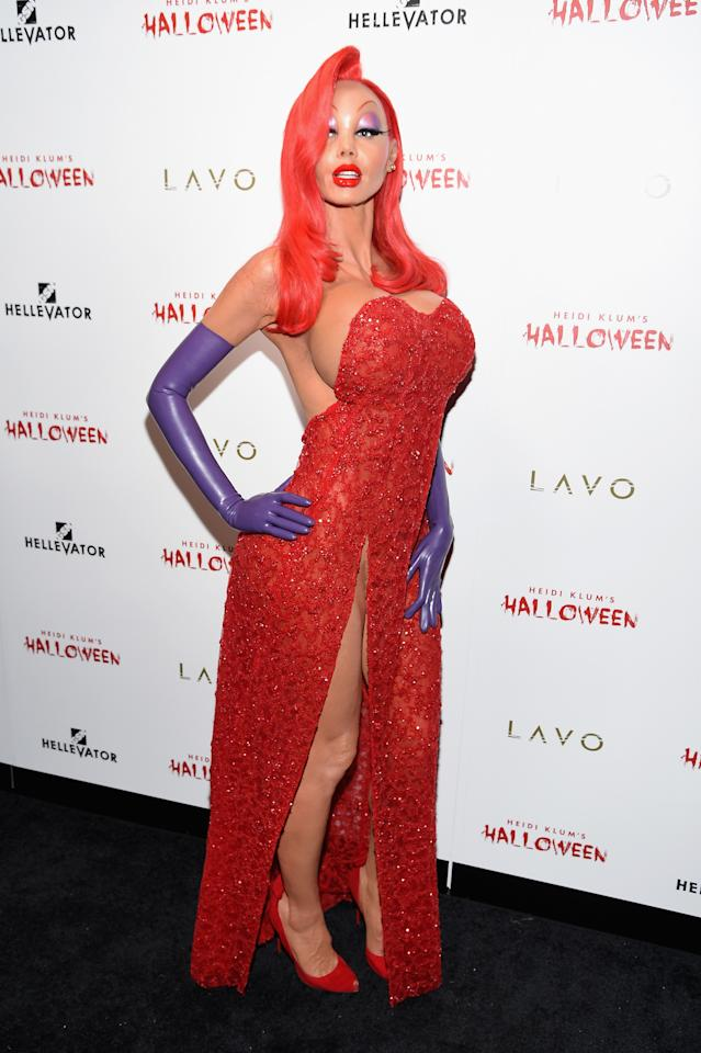 <p>Klum's Jessica Rabbit get-up took nine hours to create and came complete with a fake behind and rubber eyelids. It can't have been comfortable, but it certainly made an impact. [Photo: Getty] </p>
