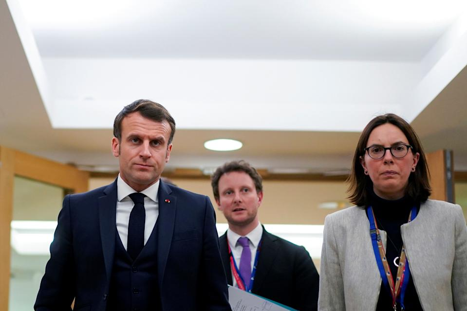 French President Emmanuel Macron and French Junior Minister for European Affairs Amelie de Montchalin attend the second day of the European Union leaders summit, held to discuss the EU's long-term budget for 2021-2027, in Brussels, Belgium, February 21, 2020.  Kenzo Tribouillard/Pool via REUTERS