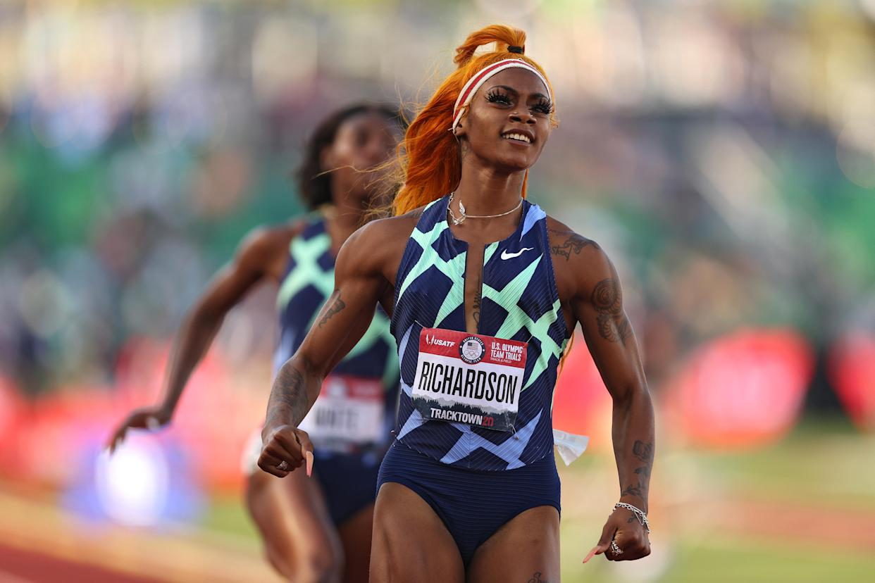 Sha'Carri Richardson runs in the Women's 100 Meter semifinal on day 2 of the 2020 U.S. Olympic Track & Field Team Trials at Hayward Field on June 19, 2021 in Eugene, Oregon. (Patrick Smith/Getty Images)