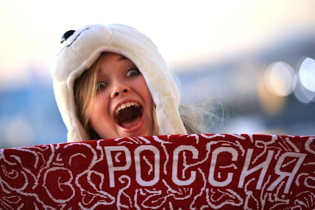 SOCHI, RUSSIA - FEBRUARY 07: A spectator poses as she arrives for the Opening Ceremony of the Sochi 2014 Winter Olympics at Fisht Olympic Stadium on February 7, 2014 in Sochi, Russia. (Photo by Richard Heathcote/Getty Images)