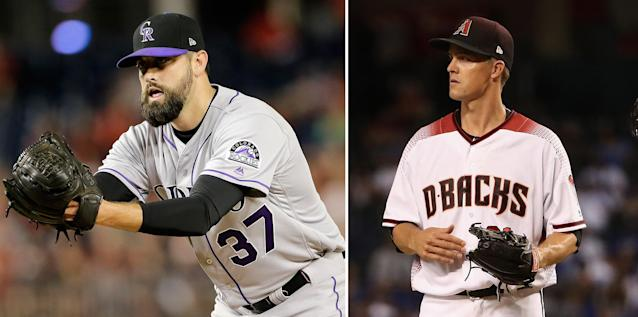 "<a class=""link rapid-noclick-resp"" href=""/mlb/players/7792/"" data-ylk=""slk:Pat Neshek"">Pat Neshek</a> (L) aired his beef with <a class=""link rapid-noclick-resp"" href=""/mlb/players/7257/"" data-ylk=""slk:Zack Greinke"">Zack Greinke</a> on an online collecting forum. (AP/Getty Images)"