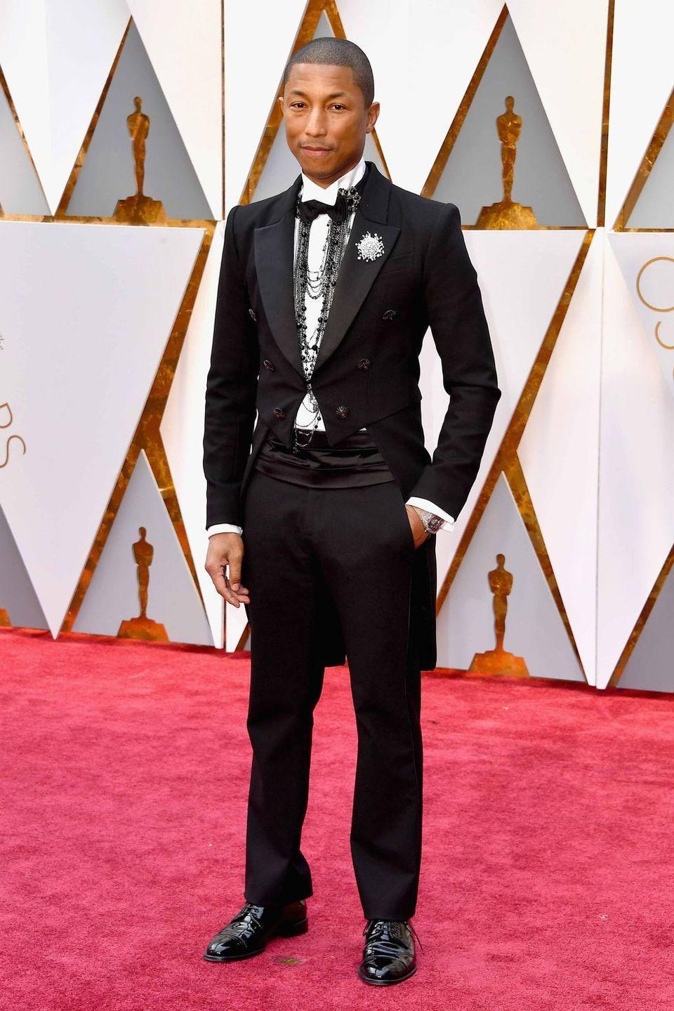 <p>Ever the red-carpet rebel, you get the sense that Pharrell knows every rule in the book—which is why he can break them and still look this good.</p>