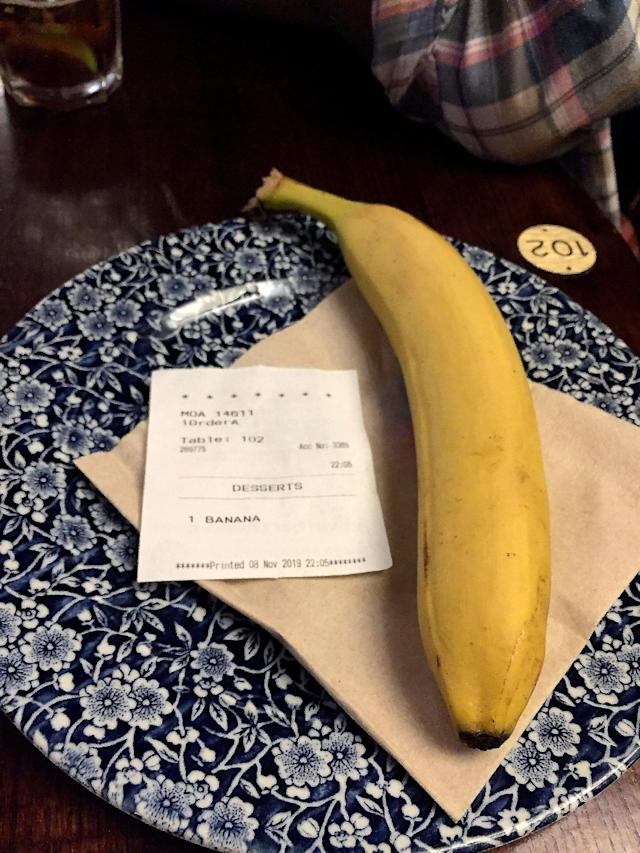 The banana was sent to him by an anonymous Wetherspoon customer. (SWNS)