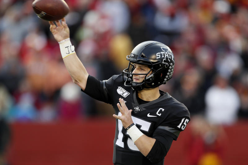 Iowa State quarterback Brock Purdy throws a pass during the first half of an NCAA college football game against Texas, Saturday, Nov. 16, 2019, in Ames, Iowa. (AP Photo/Charlie Neibergall)