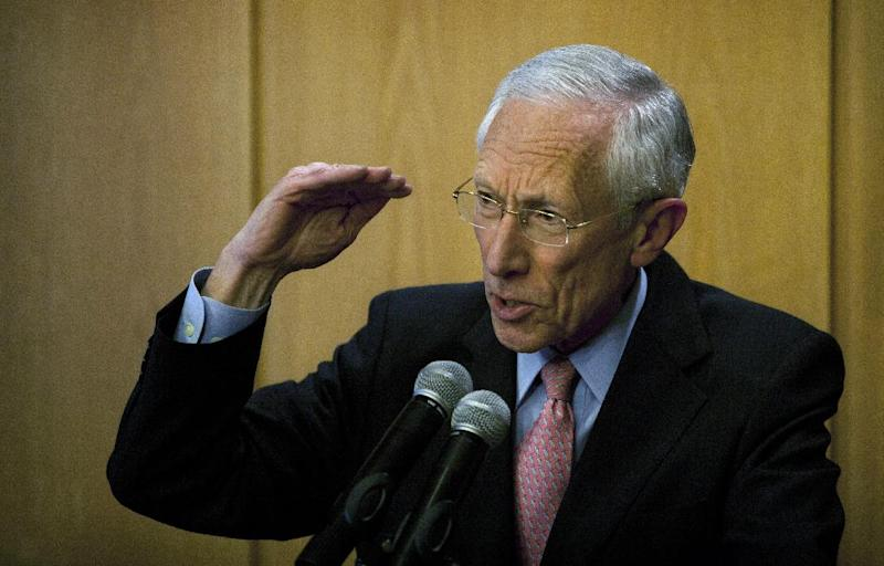 Bank of Israel governor Stanley Fischer, gestures as he speaks during a press conference in Jerusalem, Wednesday, Jan. 30, 2013. Fischer is resigning from his post in June, after being credited with maintaining the country's economic stability while the financial crisis pummeled countries around the world. Fischer's departure comes two years before the end of his second five-year term. (AP Photo/Sebastian Scheiner)