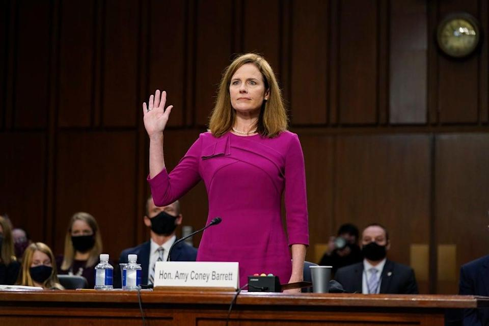 Supreme Court nominee Amy Coney Barrett delivered her opening statement on Monday. (Getty Images)