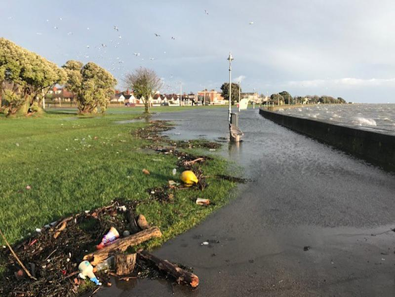 Flooding on promenade as the waves hit the sea wall in Clontarf, Co. Dublin as Storm Brendan has struck parts of the UK and the Republic of Ireland, with gusts of up to 80mph and heavy rainfall expected. (Photo by Aine McMahon/PA Images via Getty Images)