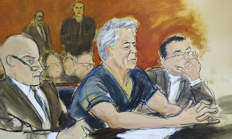 Courtroom artist's sketch of defendant Jeffrey Epstein, center, during his arraignment in New York federal court on Monday