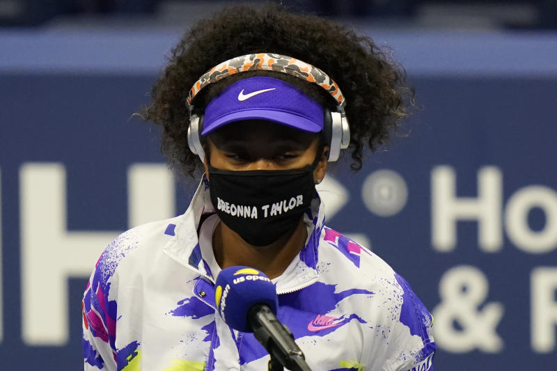 Naomi Osaka, of Japan, wears a mask in honor of Breonna Taylor before her match against Misaki Doi, of Japan, during the first round of the US Open tennis championships, Monday, Aug. 31, 2020, in New York. (AP Photo/Frank Franklin II)