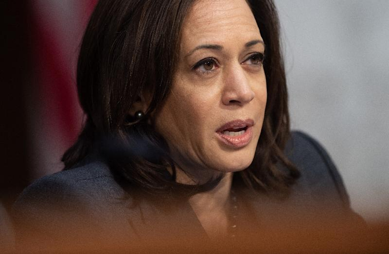 "While Senator Kamala Harris hit out at US President Donald Trump's border wall as a ""medieval vanity project,"" she focused more on speaking ""truth"" about solutions on economics, climate change and racism in early 2020 presidential campaign speeches (AFP Photo/SAUL LOEB)"