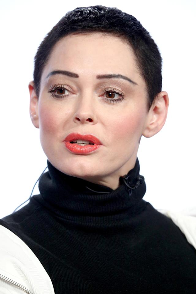 Rose McGowan speaks onstage on Jan. 9 in Pasadena, Calif. (Getty Images)