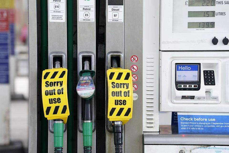 A petrol station in Sheffield which is closed due to having no fuel (PA)