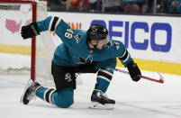 San Jose Sharks center Tomas Hertl celebrates after scoring a goal against the Colorado Avalanche during the first period of Game 7 of an NHL hockey second-round playoff series in San Jose, Calif., Wednesday, May 8, 2019. (AP Photo/Josie Lepe)