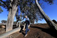 <p>Farmer Col Barton walks through a dried stream on his way to feed sheep in the drought-hit area of Duri in New South Wales [Picture: Getty] </p>