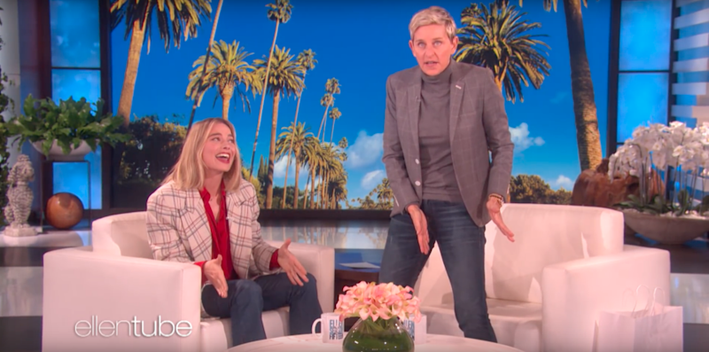 Ellen got up to show the audience just how short Tom's bike shorts were in a hilarious reenactment. Source: Supplied