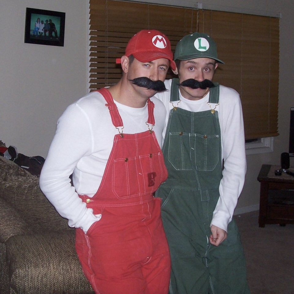 """<p>Grab the Luigi to your Mario—wear overalls, hats, and matching mustaches to play the part.</p><p><a class=""""link rapid-noclick-resp"""" href=""""https://www.amazon.com/XCOSER-Classical-Super-Halloween-Costume/dp/B017I92RU6/?tag=syn-yahoo-20&ascsubtag=%5Bartid%7C10072.g.27868801%5Bsrc%7Cyahoo-us"""" rel=""""nofollow noopener"""" target=""""_blank"""" data-ylk=""""slk:SHOP HATS"""">SHOP HATS</a></p>"""
