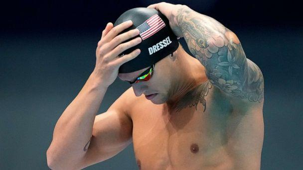 PHOTO: Caeleb Dressel of the United States prepares for his men's 100-meter freestyle semifinal at the 2020 Summer Olympics, Wednesday, July 28, 2021, in Tokyo.  (Matthias Schrader/AP)