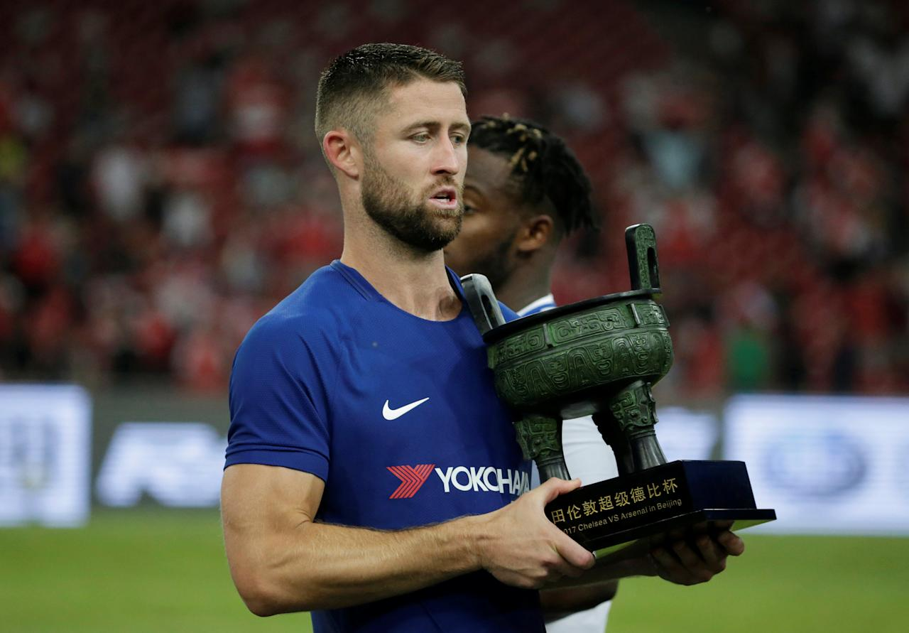 Soccer Football - Arsenal v Chelsea - Pre Season Friendly - June 22, 2017   Chelsea's Gary Cahill with trophy at the end of the match    REUTERS/JASON LEE