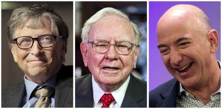 A combination photo shows L-R: Bill Gates in Washington on April 18, 2016, Warren Buffett, in New York on September 8, 2015 and Jeff Bezos in New York on December 2, 2014 respectively. REUTERS/File Photos