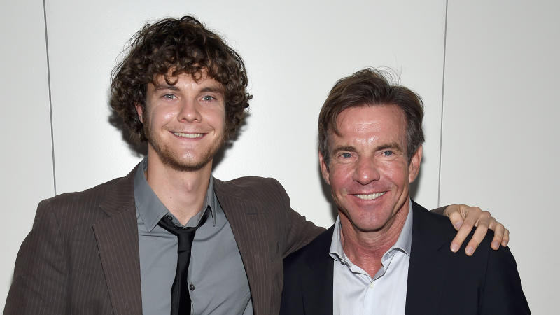 "Jack Quaid and Dennis Quaid attend the Armani and Cinema Society Screening of ""Truth"" on October 7, 2015. (Photo by Dimitrios Kambouris/Getty Images)"