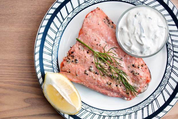 Salmon with Cucumber-Dill Yogurt Sauce