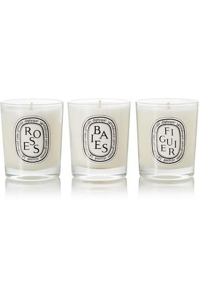 """<p>Pregnancy can be stressful, and while you can't give the gift of total relaxation, these Diptyque candles can certainly get her close. <em>(Diptyque Candle Trio, $100, <a rel=""""nofollow"""" href=""""https://www.net-a-porter.com/us/en/product/572292/diptyque/baies–roses-and-figuier-set-of-three-candles–3-x-70g?mbid=synd_yahoostyle"""">Net-a-Porter</a>)</em></p>"""