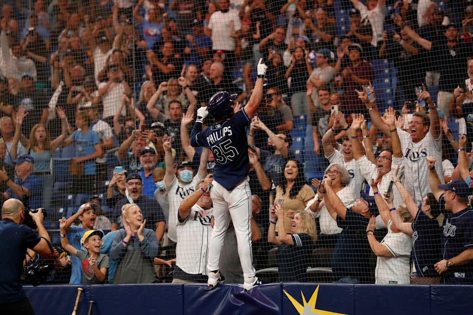 Rays outfielder Brett Phillips celebrates after hitting a walkoff home run in the 10th inning of the Tigers' 7-4 loss on Friday, Sept. 17, 2021, in St. Petersburg, Florida.
