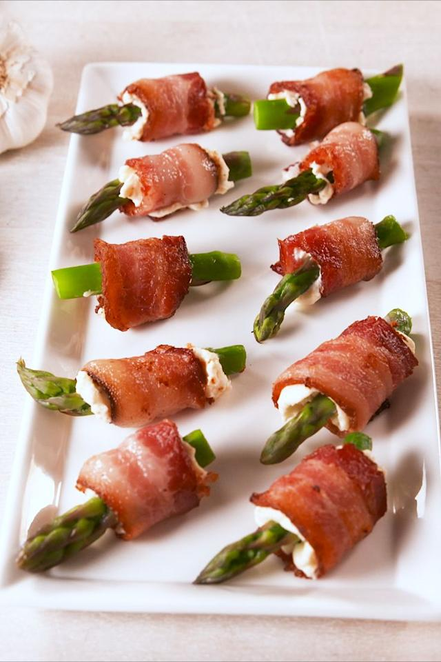 "<p>The best things in life are wrapped in bacon.<br>Get the recipe from <a href=""https://www.delish.com/cooking/recipe-ideas/a19445358/bacon-asparagus-bites-recipe/"" target=""_blank"">Delish</a>.<br></p><p><a class=""body-btn-link"" href=""https://www.amazon.com/Nordic-Ware-Aluminum-NonStick-Commercial/dp/B0017145SE?tag=syn-yahoo-20&ascsubtag=%5Bartid%7C1782.g.1585%5Bsrc%7Cyahoo-us"" target=""_blank"">BUY NOW</a> <strong><em>Small Baking Sheet, $17, amazon.com</em></strong></p>"