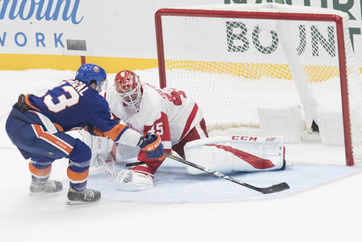 New York Islanders center Mathew Barzal (13) scores the winning goal past Detroit Red Wings goaltender Jonathan Bernier (45) during a shootout of an NHL hockey game, Saturday, Dec. 15, 2018, in Uniondale, N.Y. (AP Photo/Mary Altaffer)