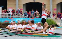 WINDSOR, ENGLAND - AUGUST 01: The Germany team celebrate after winning gold in the Men's Eight Final on Day 5 of the London 2012 Olympic Games at Eton Dorney on August 1, 2012 in Windsor, England. (Photo by Alexander Hassenstein/Getty Images)