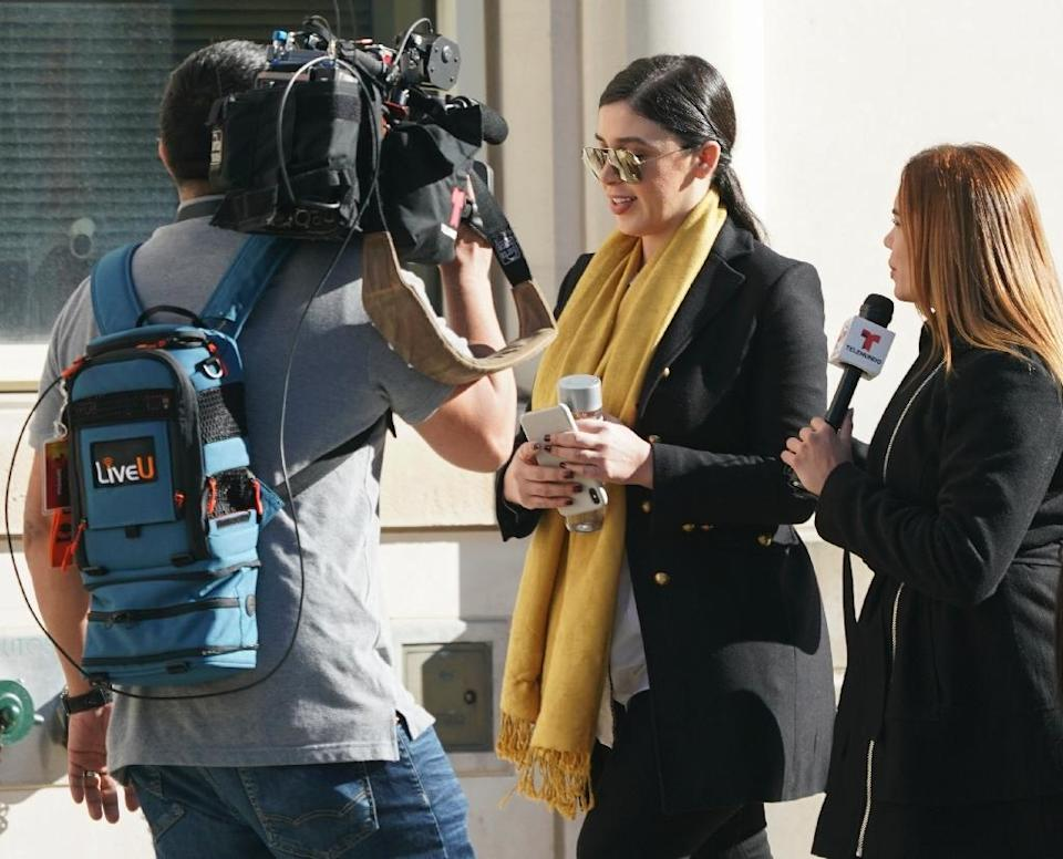 """Emma Coronel, wife of Joaquin """"El Chapo"""" Guzman, arrives at the US Federal Courthouse in Brooklyn on February 4, 2019 (AFP Photo/Don Emmert)"""