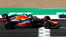 <p>Max Verstappen of the Netherlands driving the (33) Aston Martin Red Bull Racing RB16 during qualifying for the F1 Grand Prix of Great Britain at Silverstone on August 01, 2020 in Northampton, England</p>