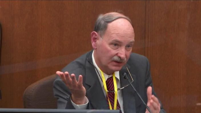 In this image taken from video witness Dr. Bill Smock, a Louisville physician in forensic medicine testifies as Hennepin County Judge PeterCahill presides Thursday, April 8, 2021, in the trial of former Minneapolis police Officer Derek Chauvin at the Hennepin County Courthouse in Minneapolis, Minn.