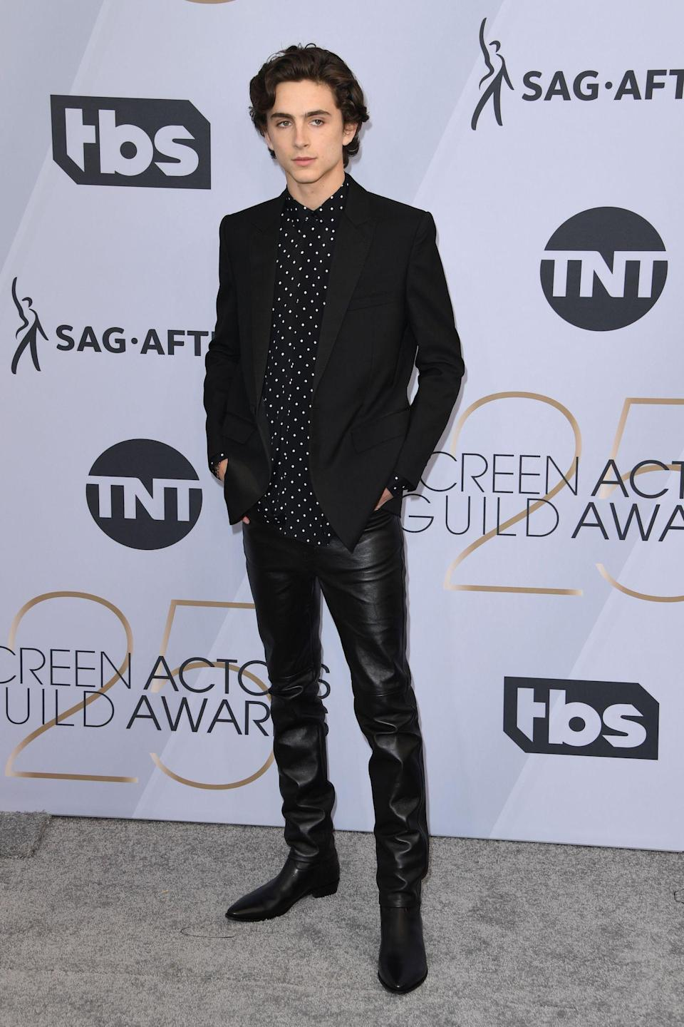 <p>Timothee Chalamet, star of <em>Beautiful Boy</em>, sported leather pants at the 2019 Screen Actors Guild Awards in Los Angeles. (Photo: Getty Images) </p>