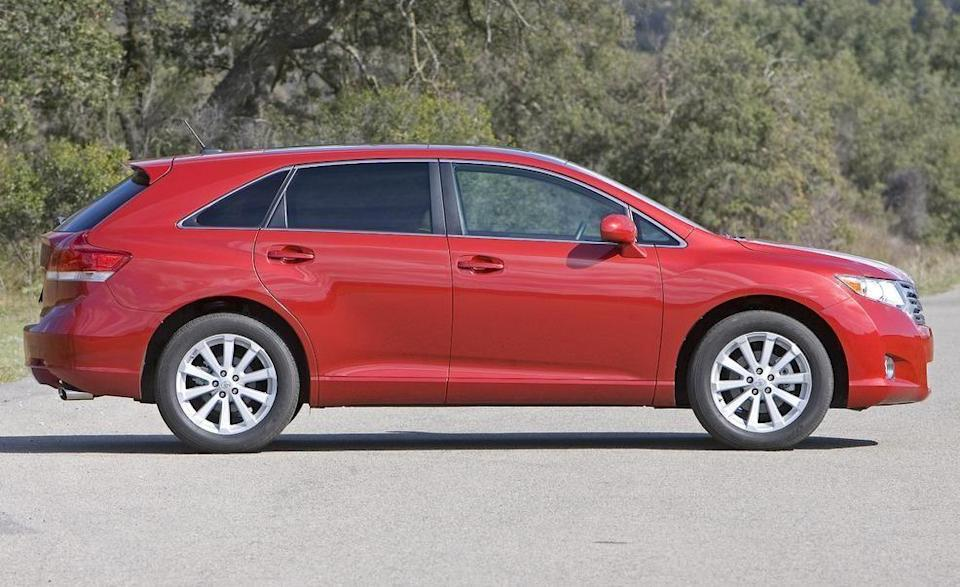"""<p>Built in Georgetown, Kentucky, the <a href=""""https://www.caranddriver.com/toyota/venza-2015"""" rel=""""nofollow noopener"""" target=""""_blank"""" data-ylk=""""slk:Venza"""" class=""""link rapid-noclick-resp"""">Venza</a> wasn't Toyota's most successful crossover. Maybe it was the name? The five-passenger SUV had everything else going for it from a swoopy silhouette to a powerful V-6 engine to impressive safety scores and excellent reliability. Its interior feels huge and backs up the SUV's I'm-not-a-mom styling with a daring, futuristic dashboard design. Front-wheel drive or all-wheel drive, the Venza was powered by a standard 182-hp four-cylinder or a powerhouse 3.5-liter V-6 making 268 horsepower. With the four, zero to 60 mph takes about nine seconds, but the V-6 drops that time to below seven seconds. Though much taller and wider, the Venza was based on the Camry's platform, and the V-6 was shared between the two. An automatic transmission was standard across the board. Venza prices start around $7000.</p>"""