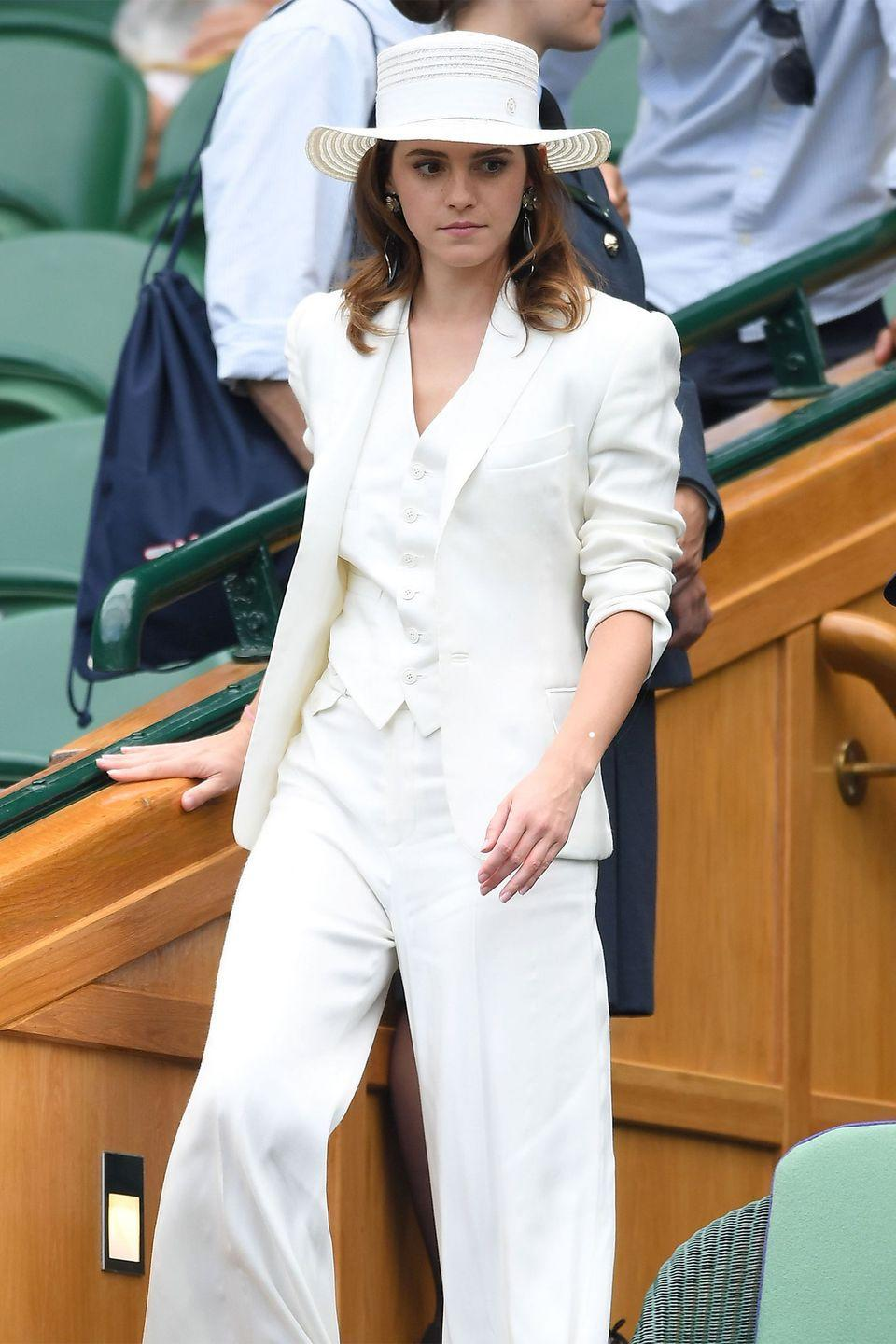<p><strong>2018</strong> Emma Watson chose an all-white three-piece suit and matching hat.</p>