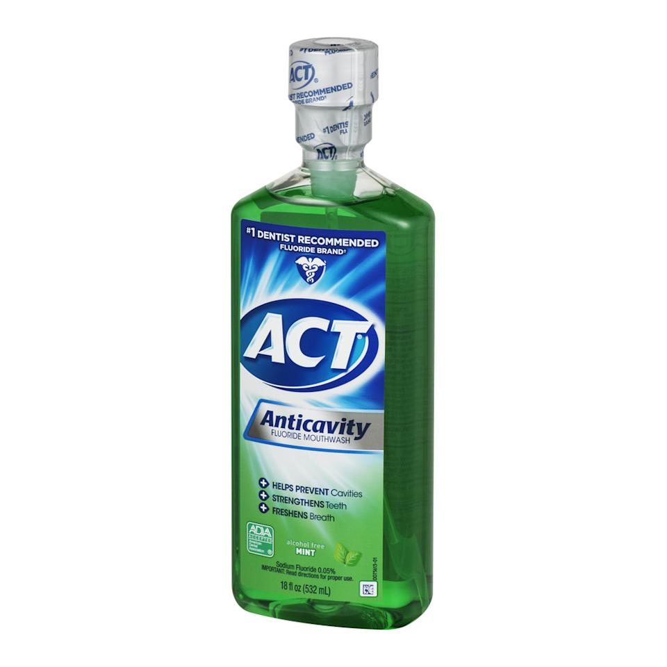 "Available in several flavors, this rinse is another favorite of Bates because it's alcohol-free and contains fluoride. ""Fluoride naturally combines with tooth enamel to strengthen it against sensitivity and decay,"" she says. ""I advise my patients to use this mouthwash in the morning and CloSYS in the evening.""<br><br><strong>act</strong> ACT Mint Anticavity Flouride Mouthwash, 18 oz., $, available at <a href=""https://go.skimresources.com/?id=30283X879131&url=https%3A%2F%2Fwww.walmart.com%2Fip%2FACT-Mint-Anticavity-Flouride-Mouthwash-18-oz%2F10307705"" rel=""nofollow noopener"" target=""_blank"" data-ylk=""slk:Walmart"" class=""link rapid-noclick-resp"">Walmart</a>"
