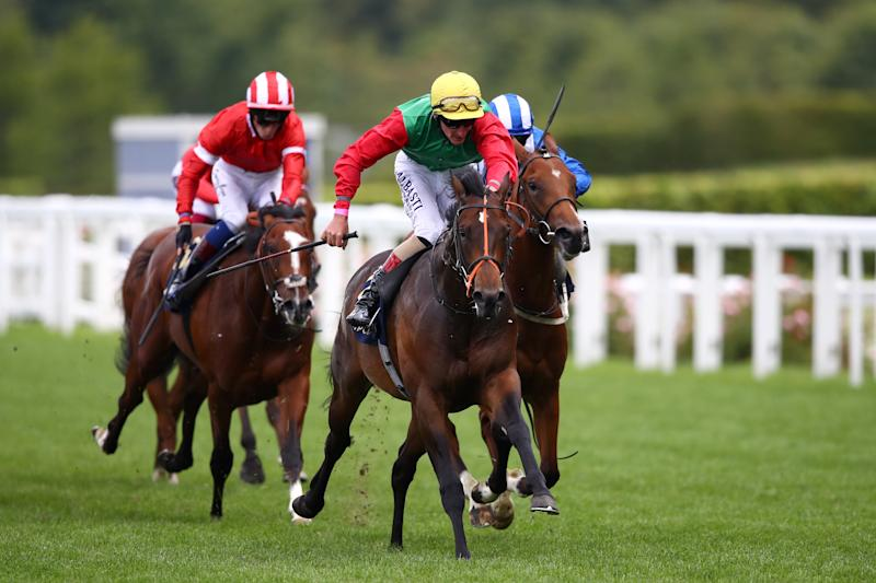 Jockey Adam Kirby riding Nando Parrado to victory in the Coventry Stakes at Royal Ascot, the longest priced winner in the meeting's history at 150-1