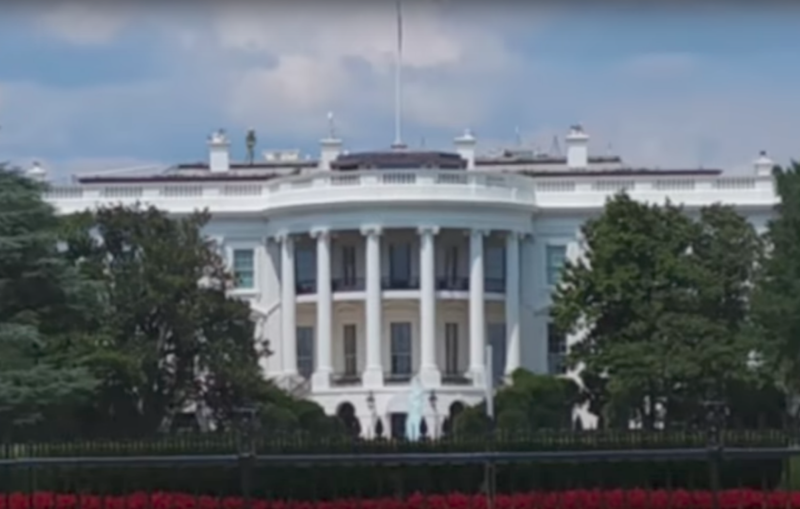 Can you spot the 'alien' on the roof of the White House? Photo: Youtube