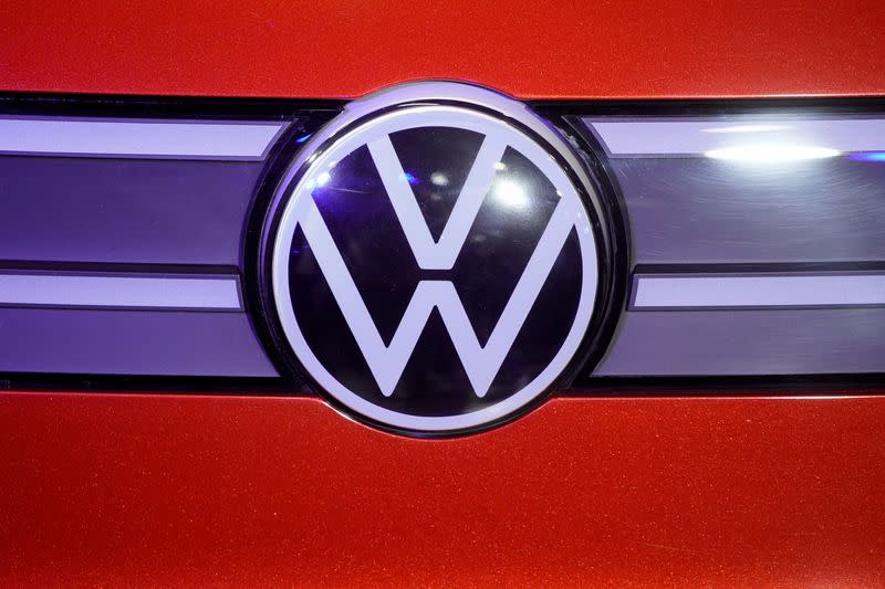 FILE PHOTO: A Volkswagen logo is seen at a construction completion event of SAIC Volkswagen MEB electric vehicle plant in Shanghai