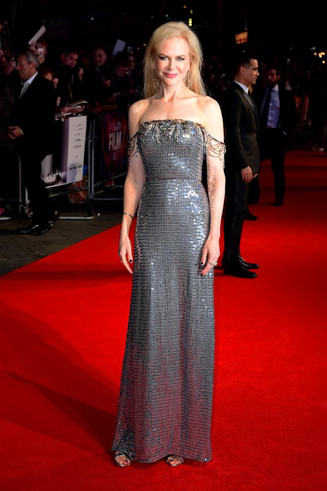 <p>Nicole always impresses, this time choosing a silver sequinned design by Italian label Prada.<br /><i>[Photo: PA]</i> </p>