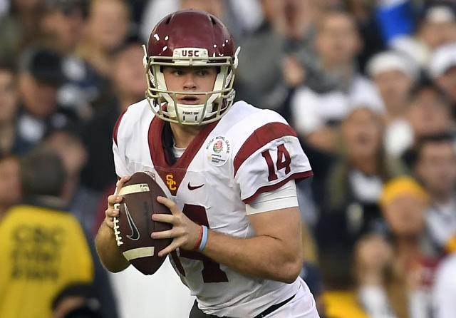 USC quarterback Sam Darnold seemingly came out of nowhere last season and is now climbing NFL draft boards. (AP)