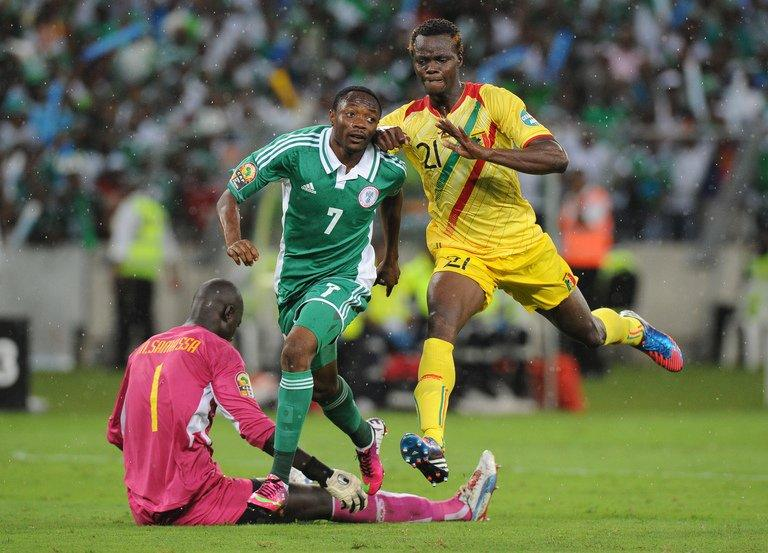 Nigeria forward Ahmed Musa scores during the Africa Cup of Nations semi-final against Mali on February 6, 2013