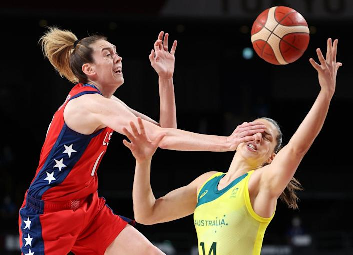 <p>Australian center Marianna Tolo get's a palm to the face when defending against The United States's forward Breanna Stewart in the first half of the women's basketball quarterfinal.</p>