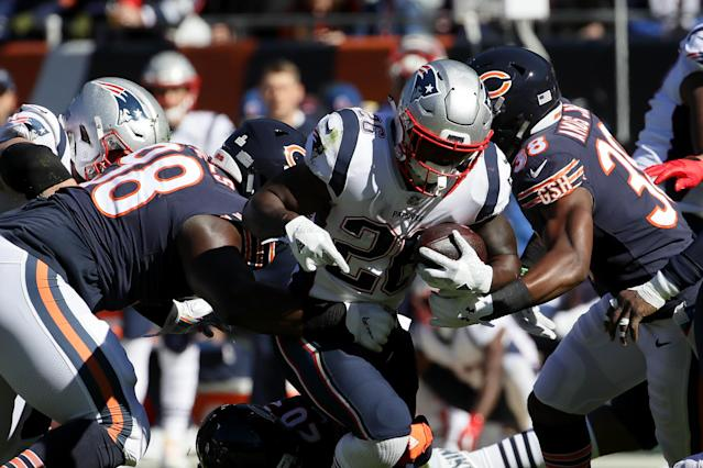 Sony Michel suffered a knee injury while fumbling in the second quarter of Sunday's game between the New England Patriots and Chicago Bears. (Getty)