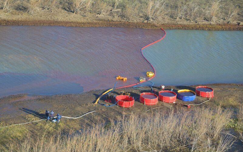 Aerial view of rescue works at the site of oil spill into the Ambarnaya river - Transneft PJSC HANDOUT/EPA-EFE/Shutterstock