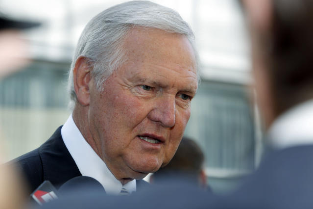 Former Los Angeles Lakers player and general manager Jerry West arrives at a memorial service for Jerry Buss, whose Lakers won 10 NBA basketball championships under his ownership, Thursday, Feb. 21, 2013 in Los Angeles. Buss died on Monday. He was 80. (AP Photo/Reed Saxon)