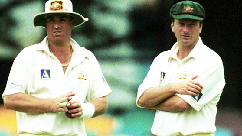 Shane Warne and Steve Waugh, pictured here during a Test match in 1999.
