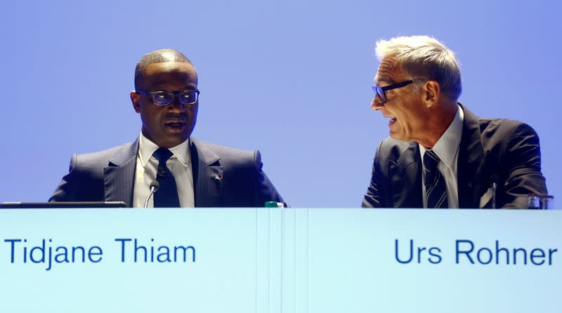 FILE PHOTO: CEO Thiam and Chairman Rohner of Swiss bank Credit Suisse attend annual shareholder meeting in Zurich