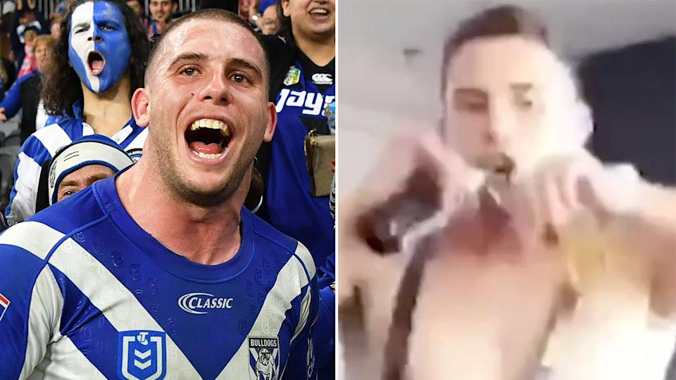 Pictured here, Bulldogs forward Adam Elliot and the naked video that has been leaked of him.